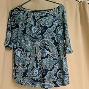 Ann Taylor boatneck 3/4 sleeves printed shirt
